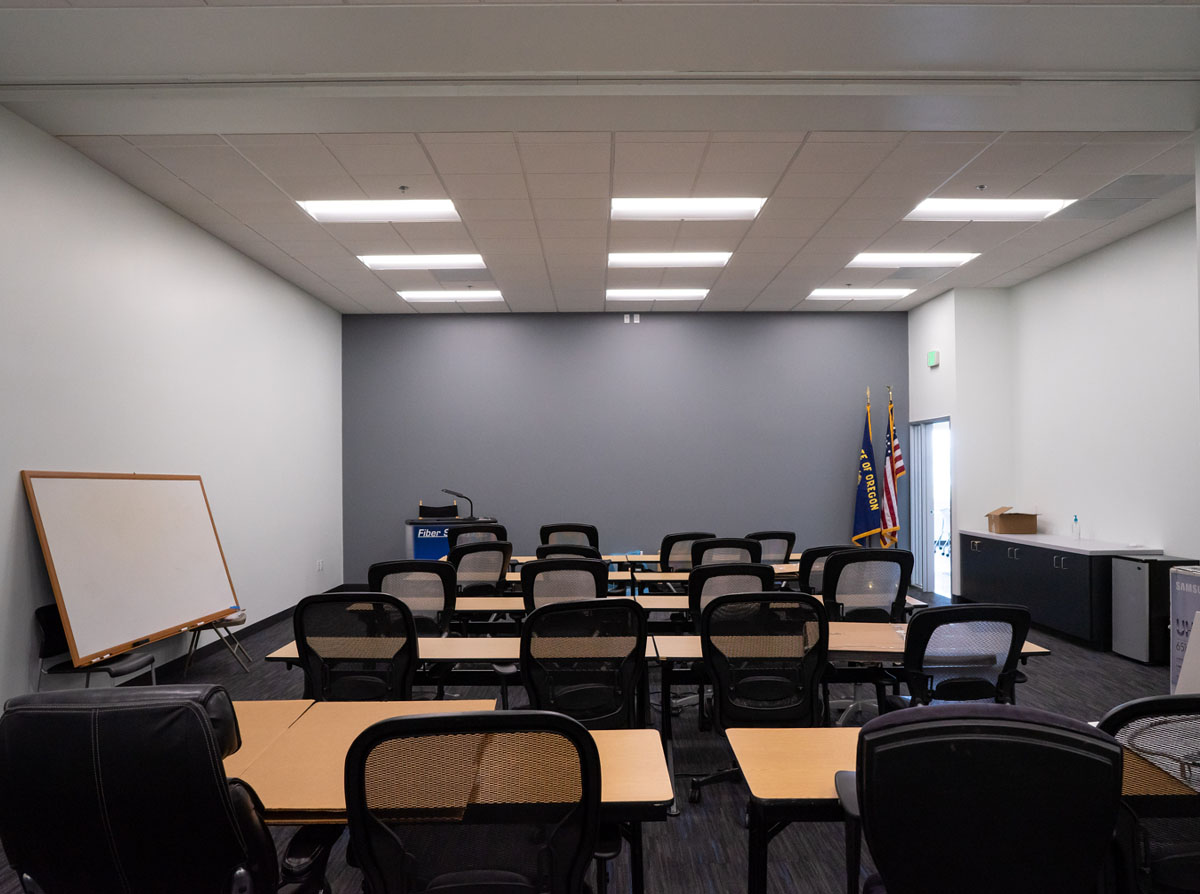 High tech building construction interior office space lecture room