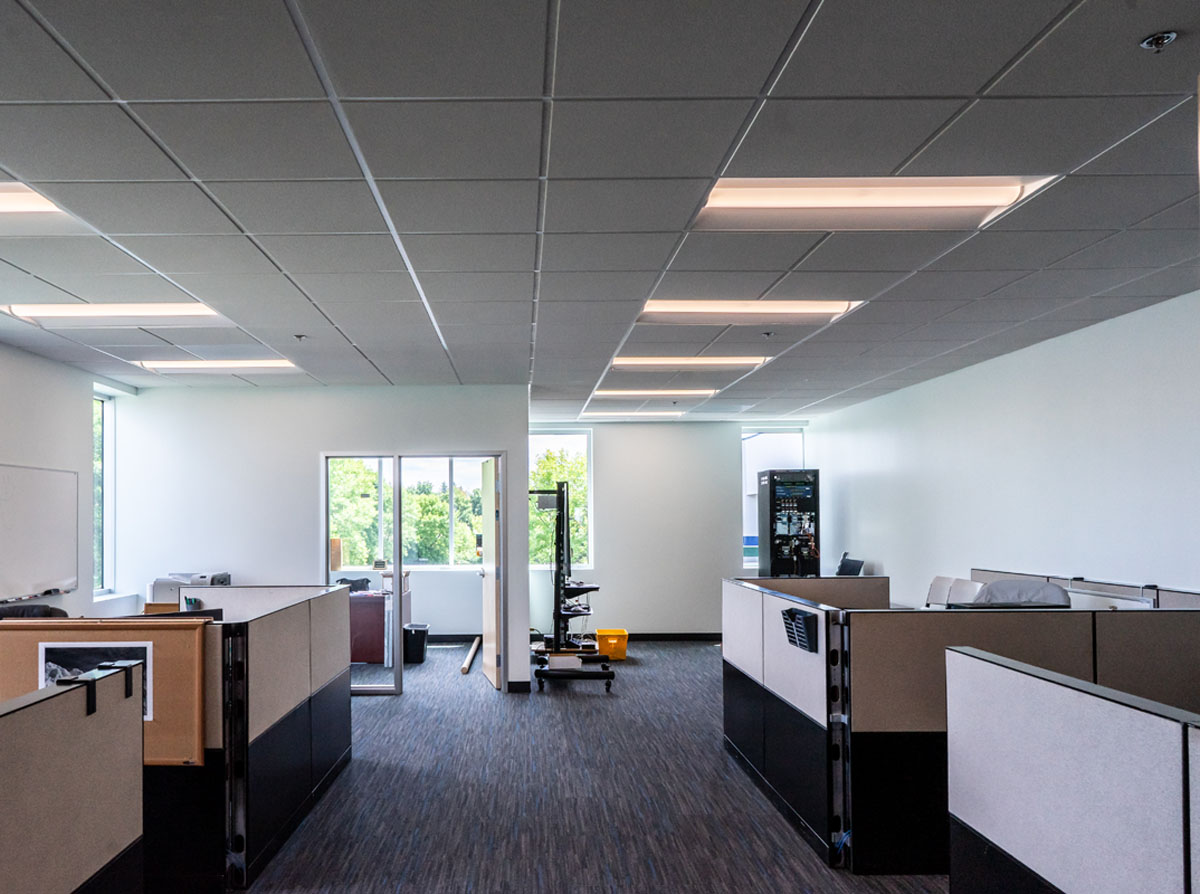 High tech building construction interior office space